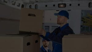 Male Mover Unloading Cardboard Box from Truck
