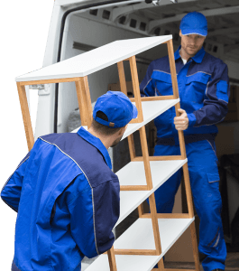 Two Delivery Men in Uniform Unloading Wooden Shelf from Truck